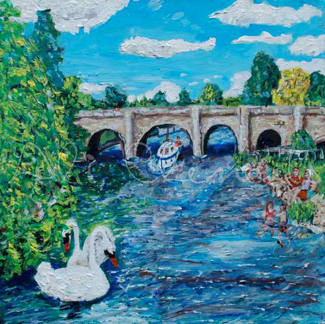 Wallingford Bridge with swans - Ali's Art Designs